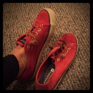 Sperry slip on red shoes